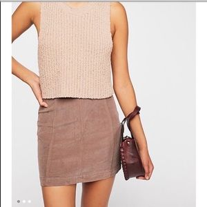 NWT Free People Corduroy mini skirt birch wood tan